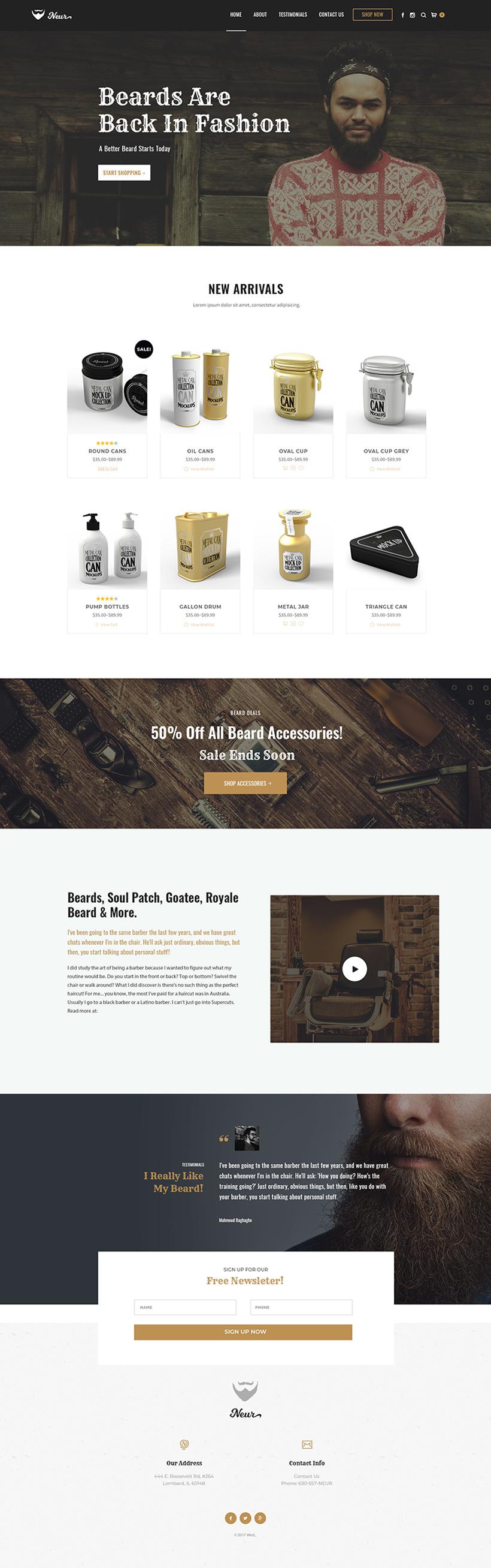 Beard Oil WordPress Website Design Mockup